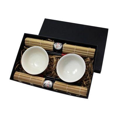 Beetrade Gift - kit oriental personalizado Caixa para presente com 2 bowls de porcelana, jogo americano, 2 pares de hashi e apoios de hashi. Promova a sua marca com b...