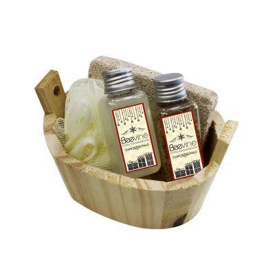 Beetrade Gift - Kit Banho Ofuro, Pedra Pome, Bucha de Banho Sintética, Pet 40ml de Sabonete Liquido, Pet de Sal de Banho