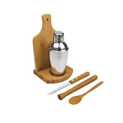 Beetrade Gift - Kit dia dos pais - Com coqueteleira, pilão, colher, tábua para corte e suporte.