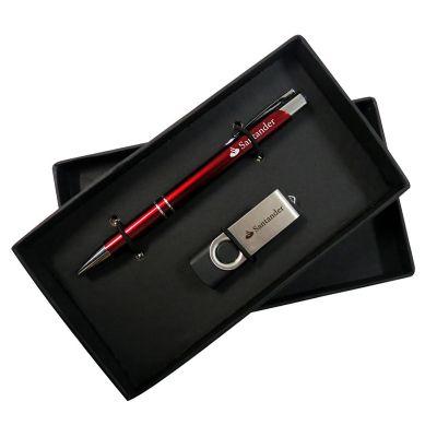 Allury Brindes - Kit escritório caneta e pen drive