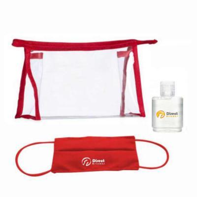 Allury Brindes - Kit Higiene 3 peças Contem: 1 necessaire transparente, 1 mascara e 1 álcool gel 35 ml