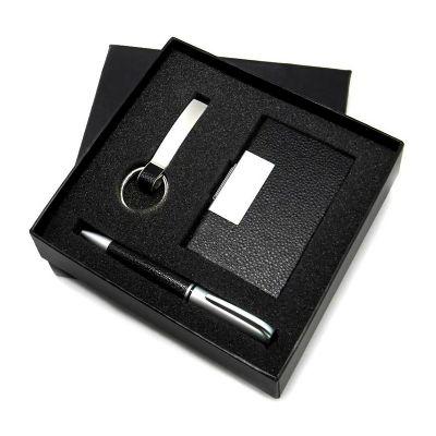 Allury Brindes - Conjunto de caneta, chaveiro e porta cartão