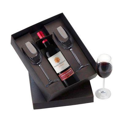 Allury Brindes - Kit vinho contendo uma garrafa de vinho de 750 ml e duas ta�as de 350 ml.