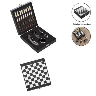 Allury Brindes - Kit Vinho 4 peças com Jogo de Xadrez 1