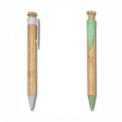 Allury Brindes - Caneta Bambu com Clip em Formato de Folha 1