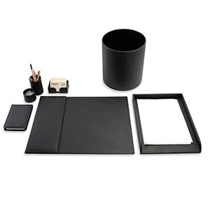 Laeder Couro - Kit escritório em couro preto.