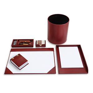 Laeder Couro - Kit escritório em couro vermelho.