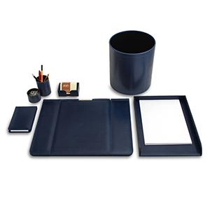 Laeder Couro - Kit escritório em couro azul.