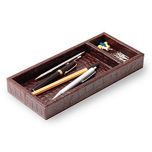 Laeder Couro - Porta-lápis e clipes em couro croco café com costura