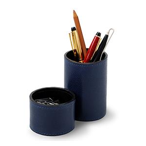 Laeder Couro - Conjunto de porta-lápis e clipes redondo em couro azul.