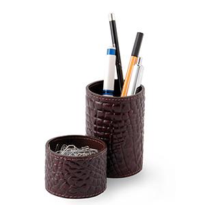 Laeder Couro - Conjunto de porta-lápis e clipes redondo em couro.
