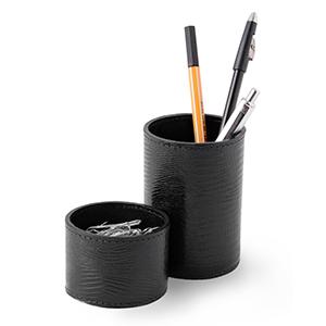 Laeder Couro - Conjunto de porta-lápis e clipes redondo em couro