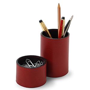Laeder Couro - Conjunto de porta-lápis e clipes redondo em couro vermelho.
