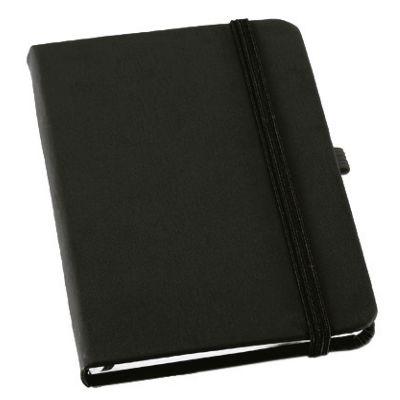 Promus Brindes - Bloco de anotações. Couro sintético. Capa dura. Com porta caneta e 80 folhas não pautadas