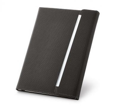 Promus Brindes - Caderno capa dura. C. sintético. Fecho magnético. Com porta esferográfica e 96 folhas não pautadas cor marfim