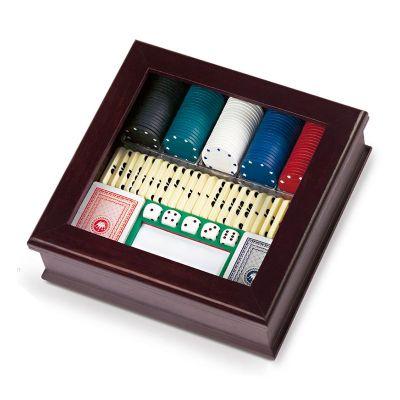 Promus Brindes - Caixa de jogos em madeira, tampa em acrílico