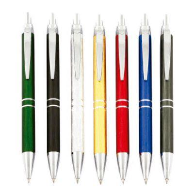 Promus Brindes - Caneta semi metal esferográfica com 2 anéis.  Cores: Verde, Preta, Prata, Amarela, Vermelha, Azul, Metal Gun