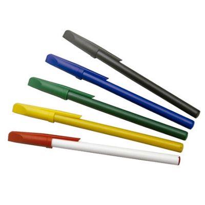 Promus Brindes - Caneta em pvc esferográfica com tampa e corpo colors. Cores: preta, azul, verde, amarela, branca, vermelha.