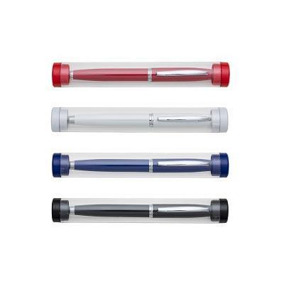 Promus Brindes - Caneta metal com tubo de acrílico cilíndrico. Caneta inteira colorida com detalhes prata, clip metal e touch na parte superior. Aciona por giro