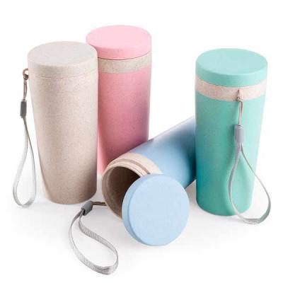 Promus Brindes - Copo térmico de fibra de bambu de 350ml com alça. Copo produzido em Polipropileno livre de BPA, possui uma tampa de vedação rosqueável e alça de nylon...