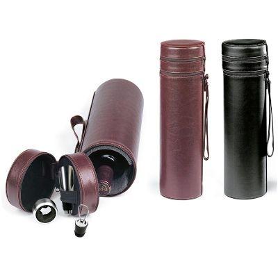 Promus Brindes - Embalagem para garrafa de vinho em couro ecológico. Contendo: corta gotas e vertedor com tampa. Todos em metal