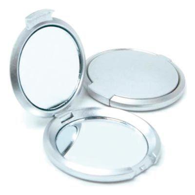 Promus Brindes - Espelho duplo de bolsa. Formato redondo, em material pvc resistente