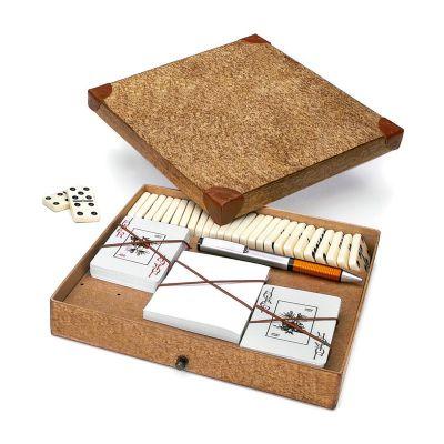 Promus Brindes - Caixa craft com detalhes em couro com dominó