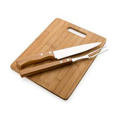 Promus Brindes - Kit churrasco 3 peças em madeira