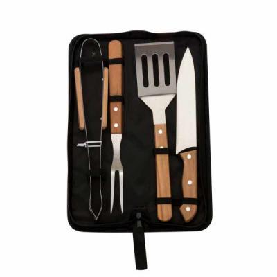 Promus Brindes - Kit churrasco 4 Peças Personalizado em estojo de nylon com alça. Possui: pegador, garfo, faca e espátula de madeira, acompanha proteções plásticas(fac...