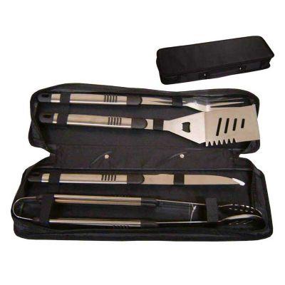 Promus Brindes - Kit churrasco com 4 peças. Espátula, pinça, garfo e faca ambos em metal. Acompanha estojo