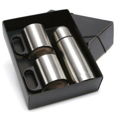 Promus Brindes - Kit Com 1 garrafa térmica em aço inox, capacidade 350 ml, 2 canecas de alumínio. Caixa acompanha