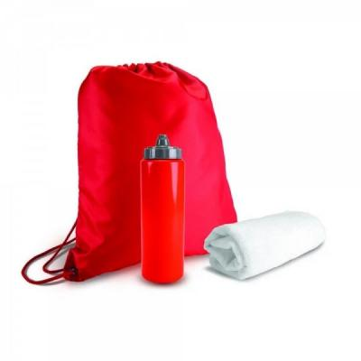 Promus Brindes - Kit esportivo 3 peças com mochila saco de nylon, squeeze PVC 950ml com tampa rosqueável e tolha inteiramente branca confeccionada em poliéster e polia...