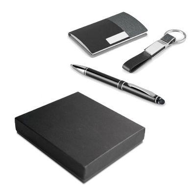 promus-brindes - Kit de porta cartões, chaveiro e esferográfica