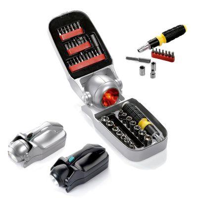 promus-brindes - Estojo lanterna com 41 ferramentas e pisca alerta