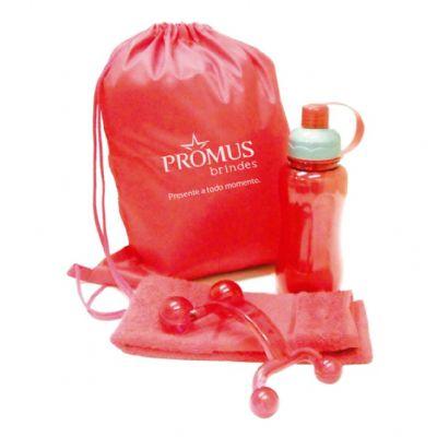 Promus Brindes - Kit fitness mochila em nylon com toalha para fitness, massageador e squeeze Ice Bar 600 ml - Cor: Vermelho