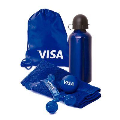Promus Brindes - Kit fitness mochila em nylon com toalha para fitness, massageador, bolinha anti-stress e squeeze 500ml em alumínio