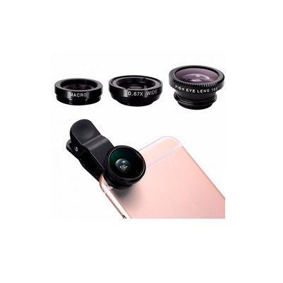 promus-brindes - Kit de lentes para celular 3 em 1 com olho de peixe, macro e wide