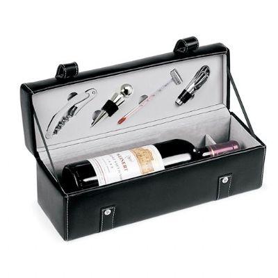 Promus Brindes - Kit vinho com maleta em couro ecológico para garrafa de vinho