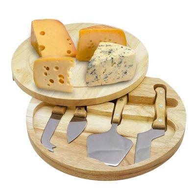 promus-brindes - Kit queijo com 5 peças. Design com borda rebaixada e tampa que abre pela lateral