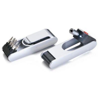 promus-brindes - Mini kit ferramentas 8 funções com lanterna e clipe para prender no cinto