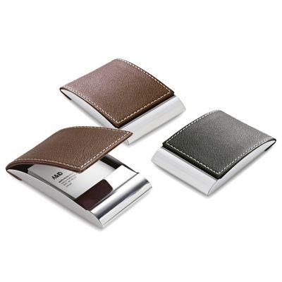 promus-brindes - Porta cartões. Metal e couro sintético