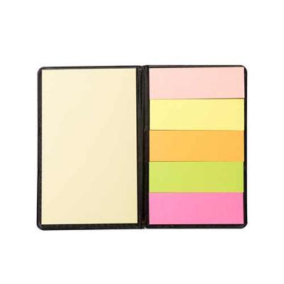 qualy-brindes - Bloco de anotações com sticky notes em couro sintético.