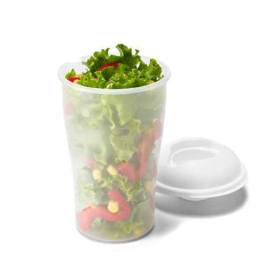 Brindes Qualy - Copo para salada. PP. Com garfo e molheira. Capacidade: 850 ml. Food grade. Caixa branca 94659 vendida opcionalmente. ø110 x 190 mm