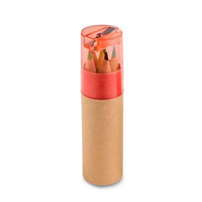 Qualy Brindes - Caixa de cartão com 6 mini lápis de cor. Cartão e plástico. Com apontador. ø26 x 103 mm