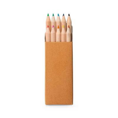 qualy-brindes - Caixa de cartão com 10 mini lápis de cor. Cartão. 40 x 90 x 15 mm