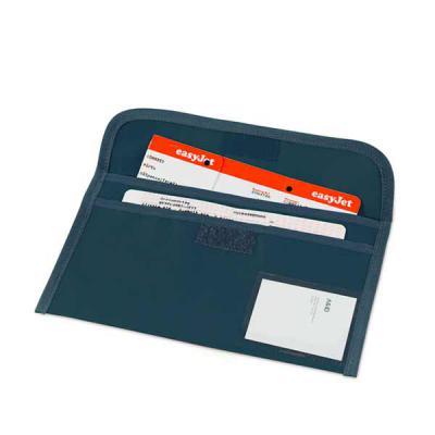Brindes Qualy - Bolsa porta documentos de viagem. 600D. 2 compartimentos interiores. Janela para identificação. 275 x 140 mm
