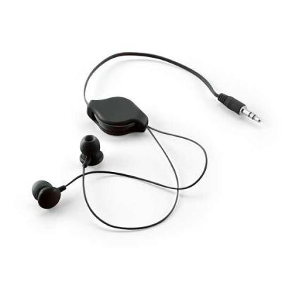 Brindes Qualy - Fone de ouvido retrátil. Cabo esticado: 80 cm. Em bolsa de non-woven. Bolsa: 60 x 105 mm