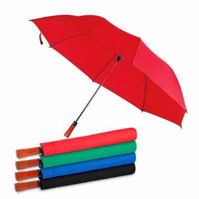 Brindes Qualy - Guarda-chuva com Cabo de madeira e haste de metal + capa protetora, botão acionador para abertura automática, tecido ponge chinês, seda crua poliéster...