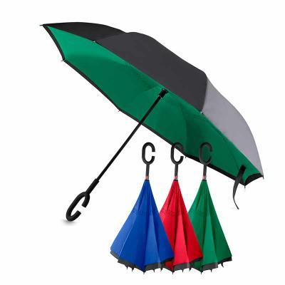 Brindes Qualy - Guarda-chuva invertido com cabo plástico e haste de metal, botão acionador para abertura automática, tecido ponge chinês, seda crua poliéster, oito va...