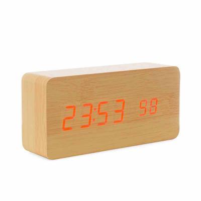Brindes Qualy - Relógio de Madeira com Display LED
